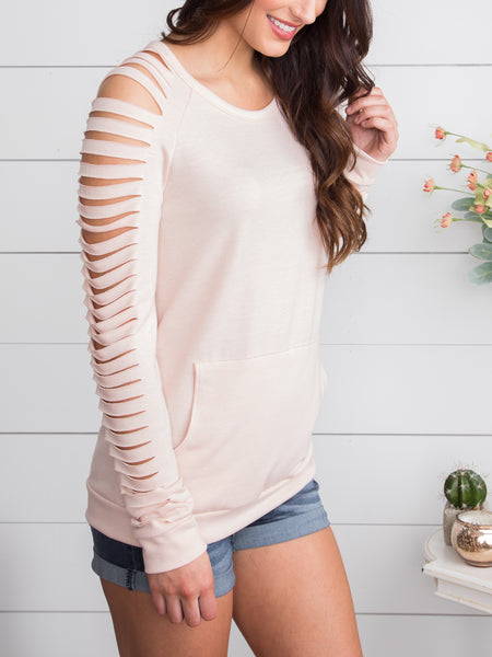 Don't Lose A Good Thing Cutout Pullover - Soft Blush