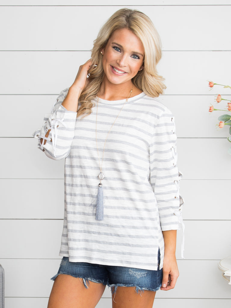 I Told You So Stripe Lace Up Top - Grey