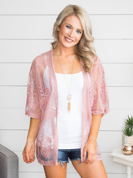 It's Your First Love Lace Kimono - Dusty Rose