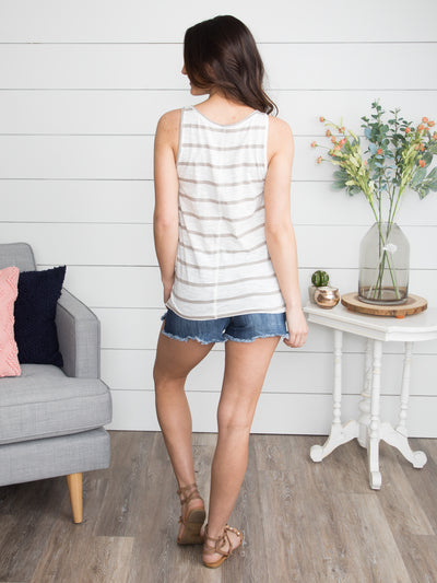Kailyn Stripe Tank - Taupe