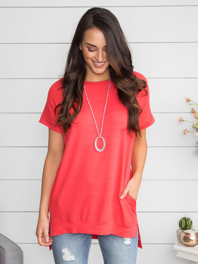 Be Daring Oversized Tunic - Coral