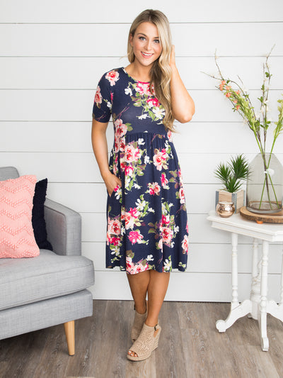 Where Did Our Love Go Floral Dress - Navy
