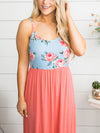 Wine Country Floral Maxi - Sky Blue