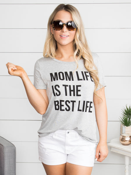 Mom Life Is The Best Life Graphic Tee - Heather Grey