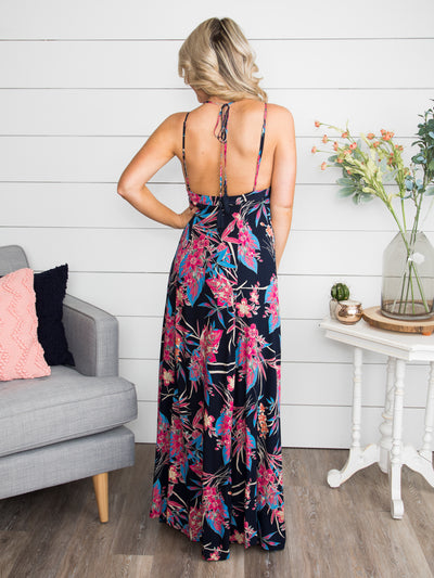 Meeting At Sunrise Floral Maxi Dress - Navy