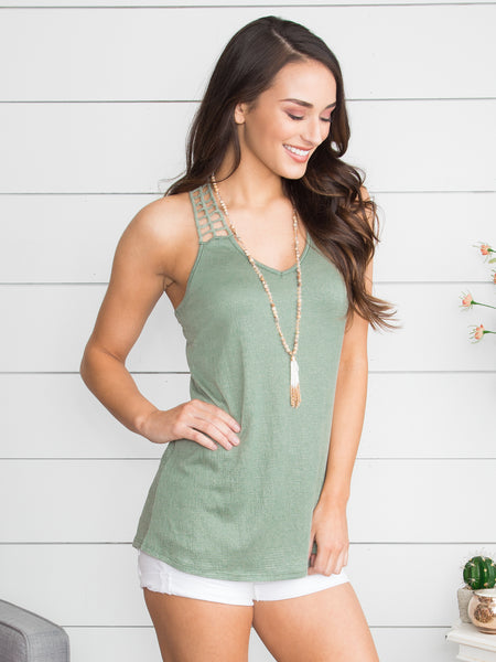 I Get This Feeling Crochet Tank - Sage