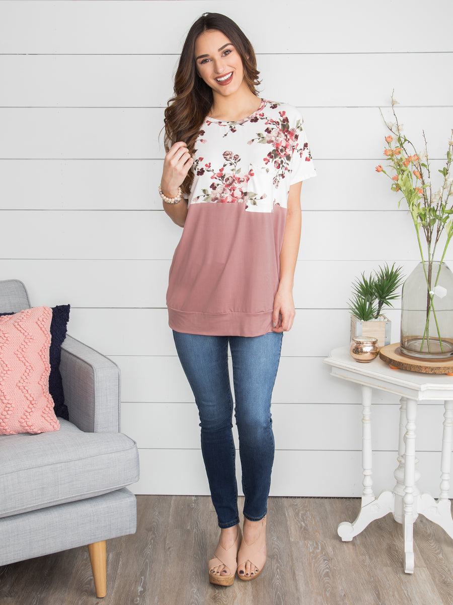 So In Love Floral Tunic - Mauve