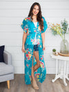 Swept Away Floral Kimono Duster - Teal