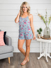 Sealed With A Kiss Floral Romper - Slate