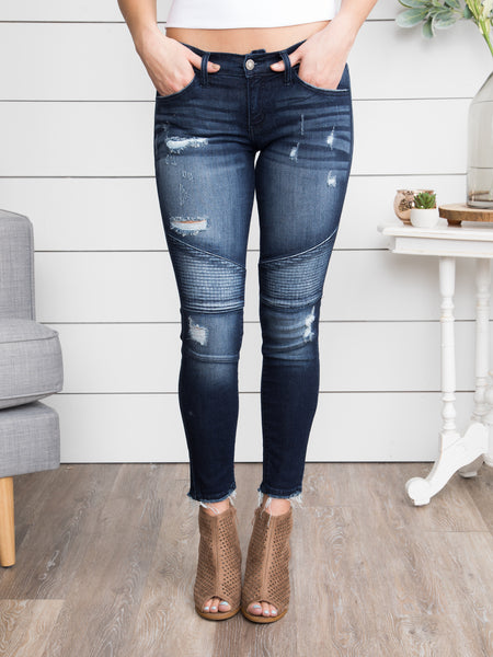 Ella Distressed Moto Skinny Jeans - Dark Wash