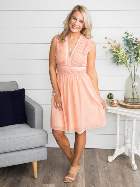 Simply And Sweetly Swiss Dot Dress - Soft Peach