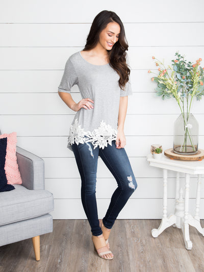 Someone Waiting For Me Lace Top - Grey