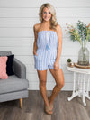 Bondi Beach Stripe Romper - Blue