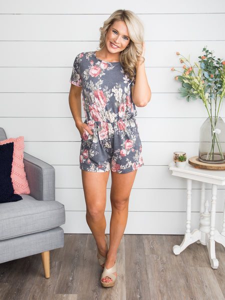 Feeling Fine Floral Romper  - Charcoal