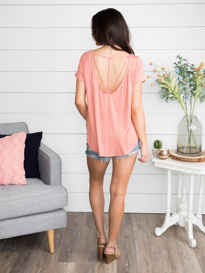 Let's Move On Cutout Top - Dusty Rose