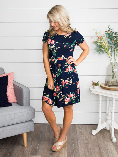 Raining Blooms Floral Dress - Navy