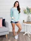 Make My Heart Beat Polka Dot Hoodie - Baby Blue