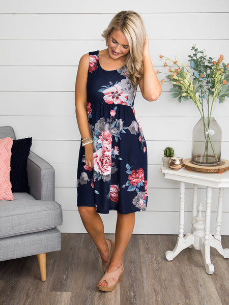 You Remind Me To Dream Floral Dress - Navy