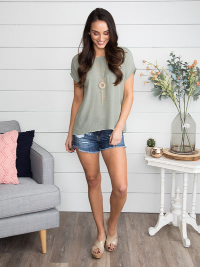 Save Today Lace Up Top - Sage