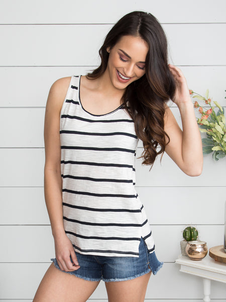 Kailyn Stripe Tank - Black
