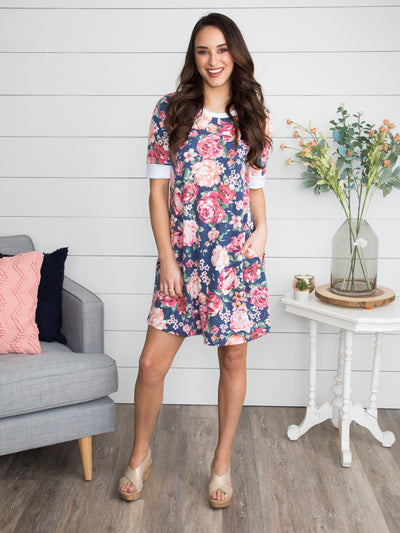 Spring In Full Swing Floral Dress - Heather Blue