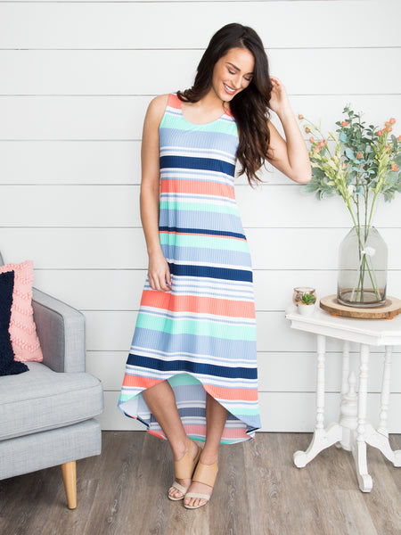For A Thrill Stripe Dress - Mint