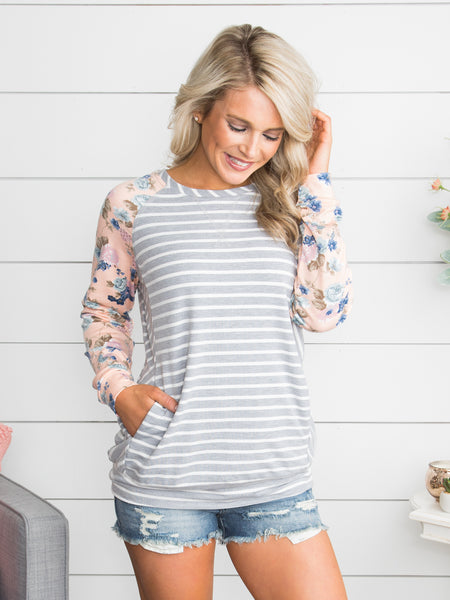 Brenna Mixed Media Top - Grey/Off White