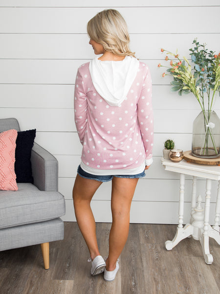 Make My Heart Beat Polka Dot Hoodie - Pink
