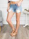 Delilah Distressed Shorts - Light Wash