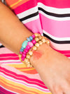 Baja Babe 3 Piece Stackable Bracelet - Pink/Tan