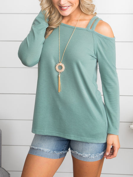 Can't Explain This Feeling Open Shoulder Top - Sage