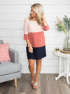 When I Needed You Color-Block Dress - Blush