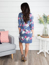 Let Me Be The One Floral Dress - Heather Blue