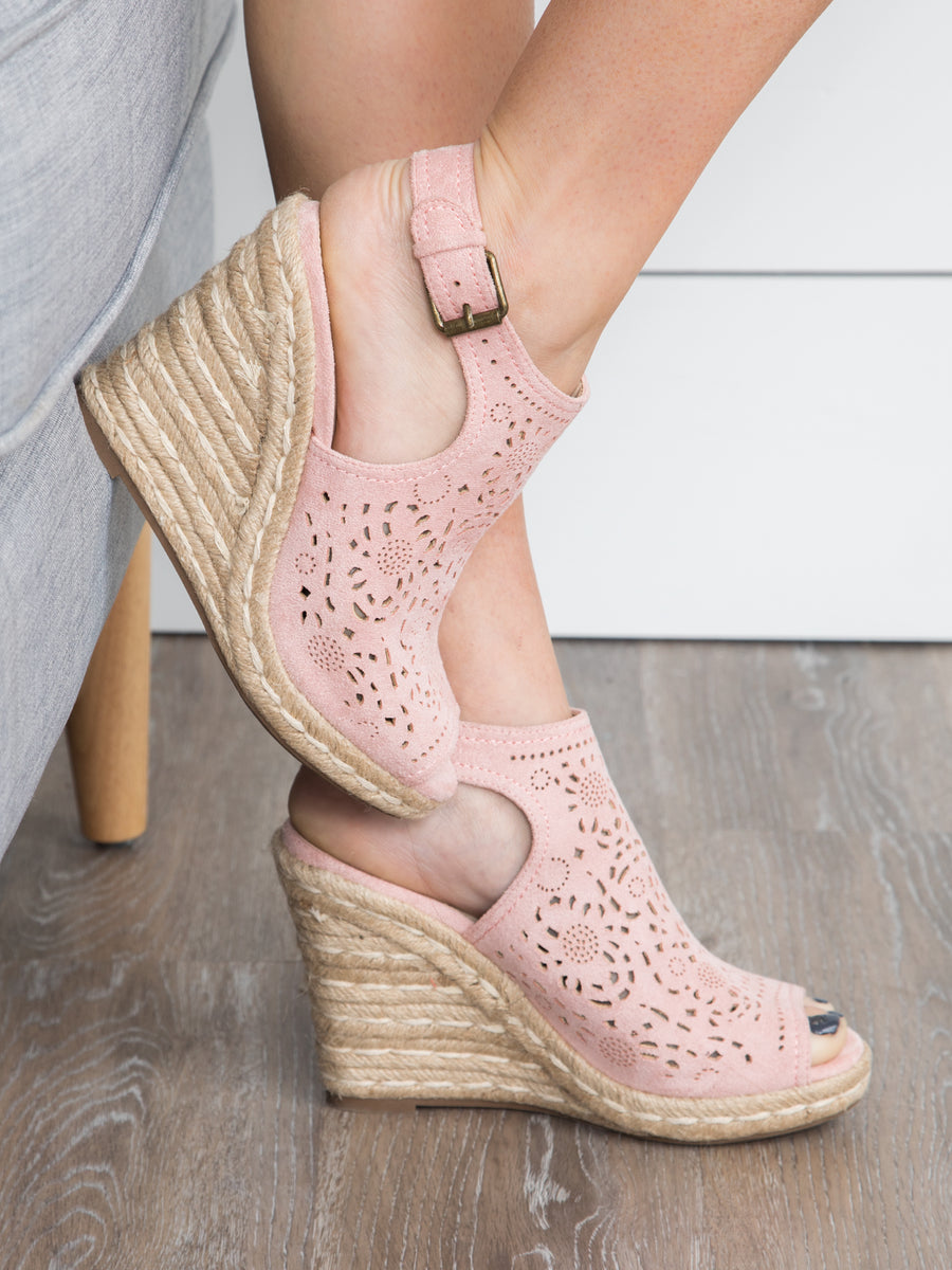 Kalina Suede Wedge - Blush