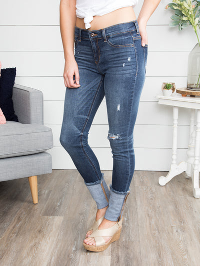 Lillian Cuffed Distressed Skinny Jeans - Dark Wash