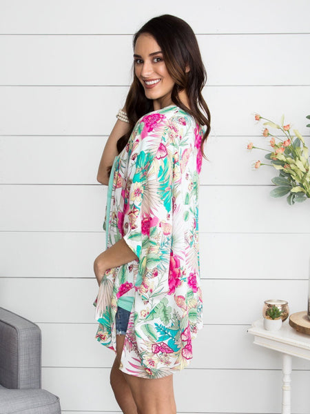 Light Up The World Floral Kimono - Off White