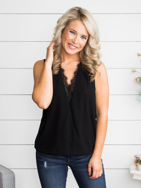 Make My Heart Sing Lace Tank - Black