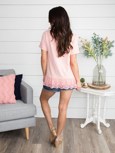 Let It Be Lace Top - Blush