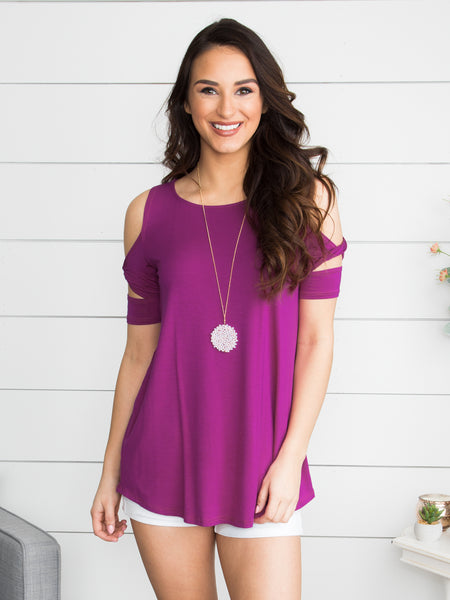 Just A Moment With You Open-Shoulder Top - Deep Orchid