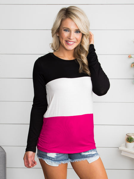 I Know A Place Color-Block Top - Black/Fuchsia