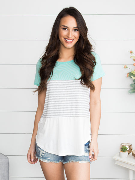 It Was Summer Love Color-Block Top - Mint