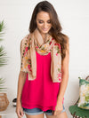Jetset Sweetheart Embroidered Scarf - Taupe