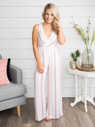 Sun Up To Sun Down Stripe Jumpsuit - Off White