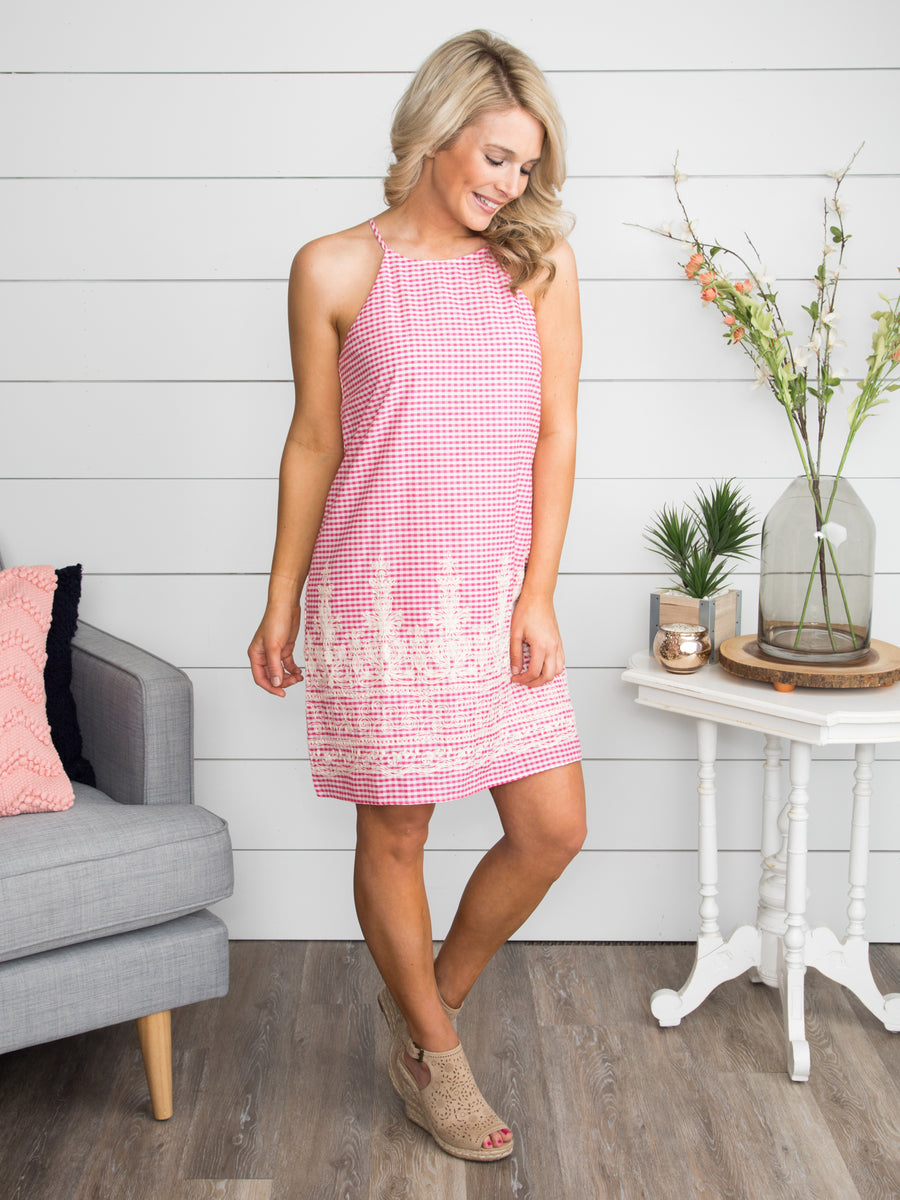 Off To Brunch Gingham Dress - Hot Pink