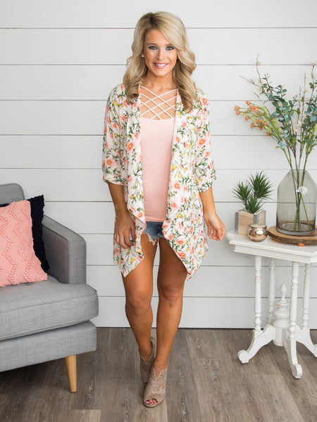 Flowers Of Romance Floral Cardigan - Pale Pink