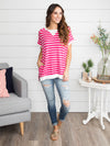 Ours To Keep Stripe Tunic - Fuchsia