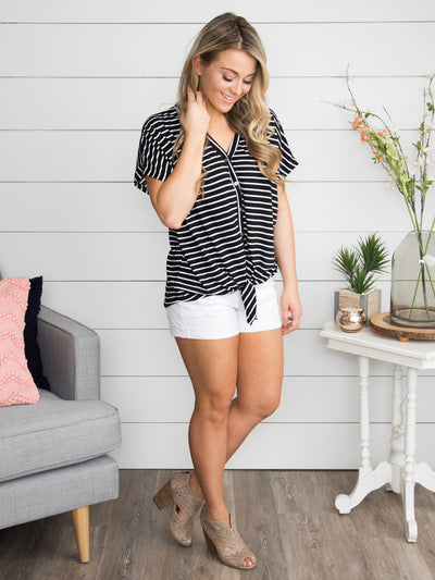 South Ferry Stripe Knot Top - Black