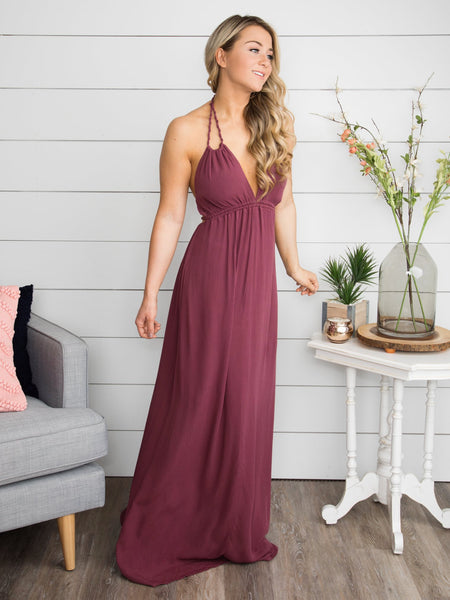 Wrapped Up In You Maxi Dress - Sunset Merlot