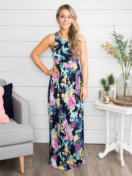 Save Tonight Floral Maxi - Navy