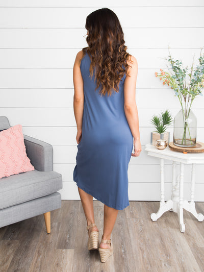 City Limits Knot Dress - Denim